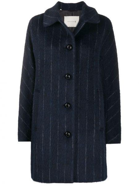 Синее пальто классическое из альпаки с воротником Mackintosh