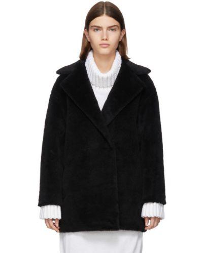 Черное длинное пальто из альпаки двубортное с воротником Harris Wharf London