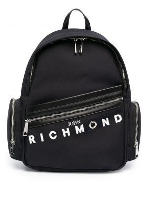 Черный рюкзак на молнии с карманами John Richmond