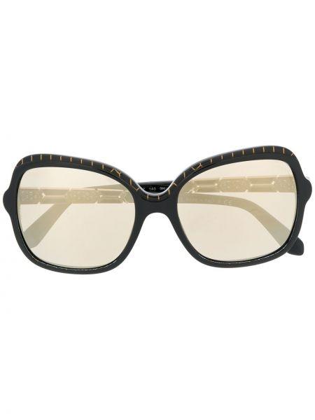 Черные солнцезащитные очки металлические оверсайз Bvlgari