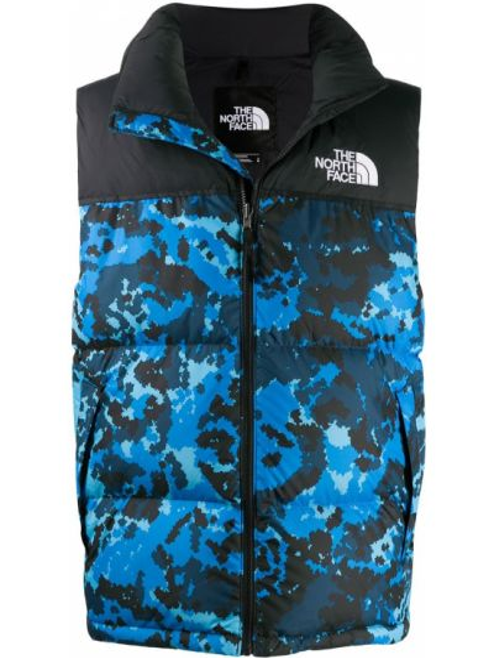 Puchaty niebieski pikowana kamizelka z kieszeniami bez rękawów The North Face