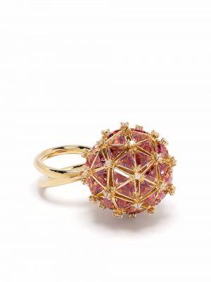 Оранжевое кольцо металлическое Swarovski