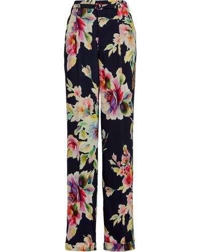 Niebieskie spodnie w kwiaty z paskiem Ralph Lauren Collection