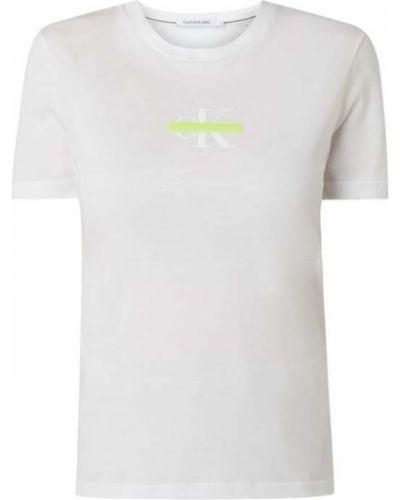 Bawełna bawełna biały koszula jeansowa z dekoltem Calvin Klein Jeans