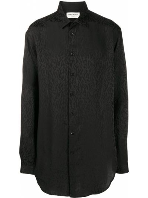 Czarny klasyczna koszula z kołnierzem z mankietami zapinane na guziki Saint Laurent