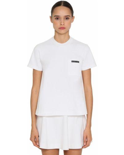Трикотажная белая футболка с карманами Prada