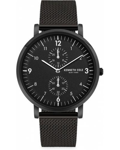 Czarny zegarek srebrny Kenneth Cole New York