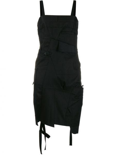 Czarna sukienka mini asymetryczna bawełniana Junya Watanabe
