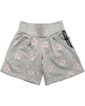 Серые хлопковые шорты с вышивкой Little Marc Jacobs