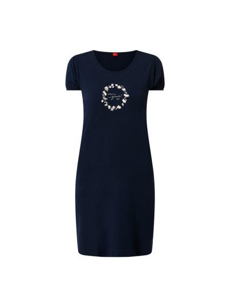 Niebieska koszula nocna krótki rękaw z wiskozy S.oliver Red Label
