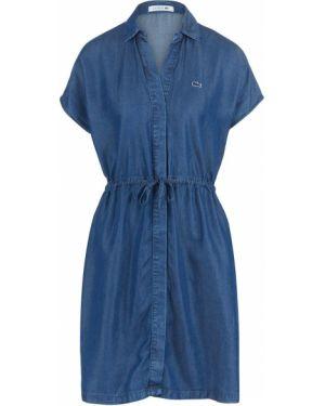 Джинсовое платье платье-рубашка синее Lacoste