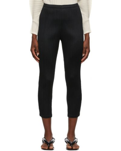Прямые черные укороченные брюки с карманами Pleats Please Issey Miyake