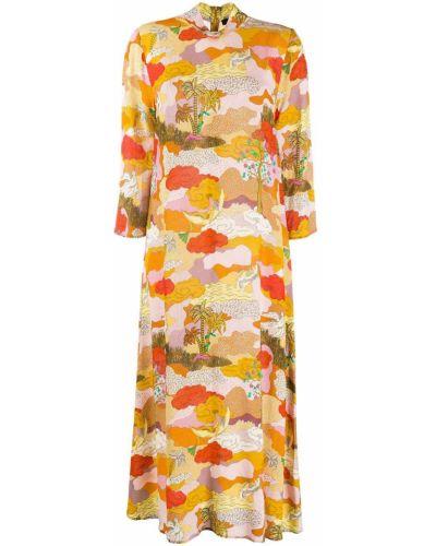 Свободное оранжевое расклешенное платье с воротником Stine Goya