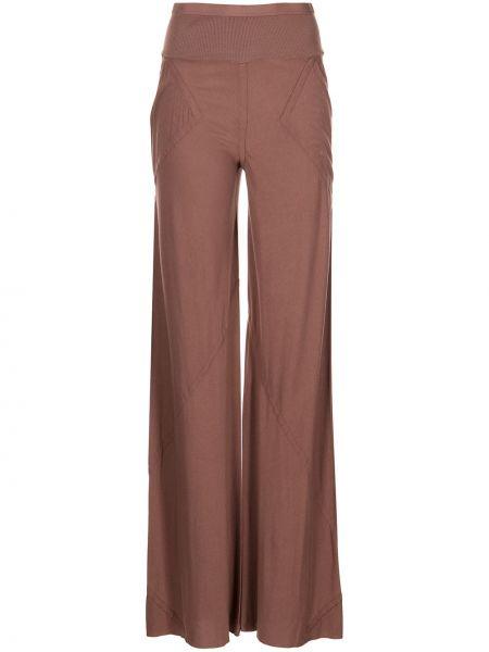 Хлопковые прямые коричневые брюки Rick Owens Lilies