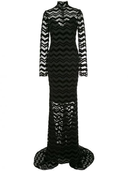 Czarna sukienka długa z długimi rękawami Christian Siriano