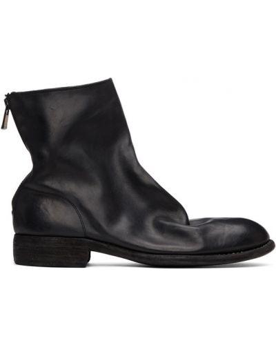 Czarny buty na wysokości z prawdziwej skóry na pięcie okrągły nos Guidi