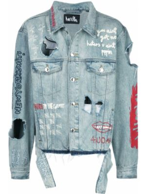 Синяя джинсовая куртка на пуговицах прозрачная с вышивкой Haculla