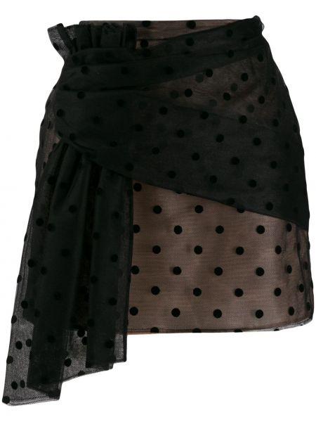 Плиссированная черная юбка мини из фатина N°21