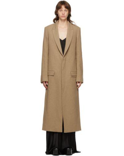Шерстяное длинное пальто с воротником на пуговицах с подкладкой Haider Ackermann