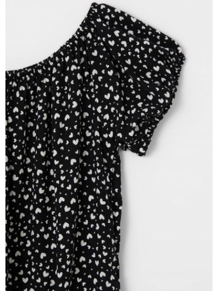 Черная блузка с короткими рукавами Defacto