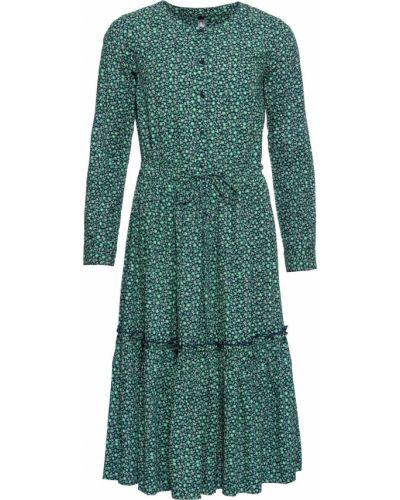 Платье миди с цветочным принтом с поясом Bonprix