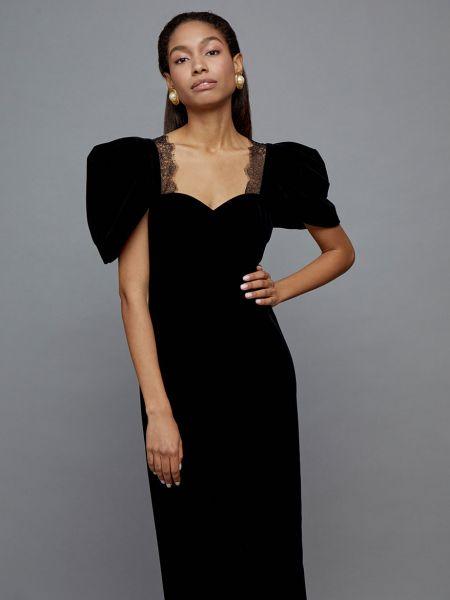 Платье миди ажурное бархатное 12storeez