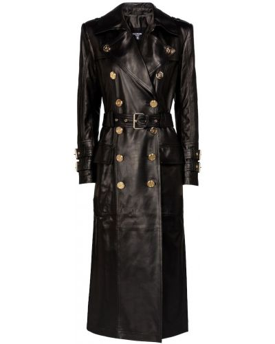 Черное кожаное пальто классическое Balmain