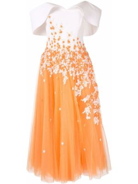 Платье миди с цветочным принтом расклешенное Saiid Kobeisy