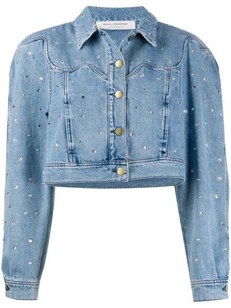 Хлопковая с рукавами синяя джинсовая куртка на кнопках Philosophy Di Lorenzo Serafini
