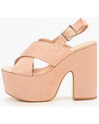 Босоножки на каблуке замшевые розовый Sergio Todzi