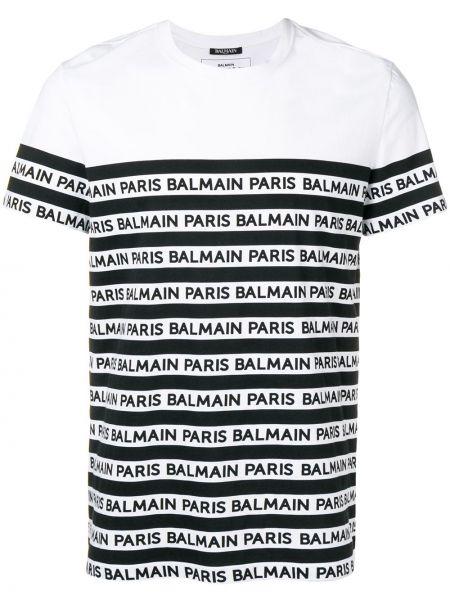 Koszula krótkie z krótkim rękawem dżinsowa w paski Balmain