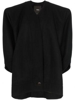 Черное пальто классическое оверсайз с капюшоном Montana