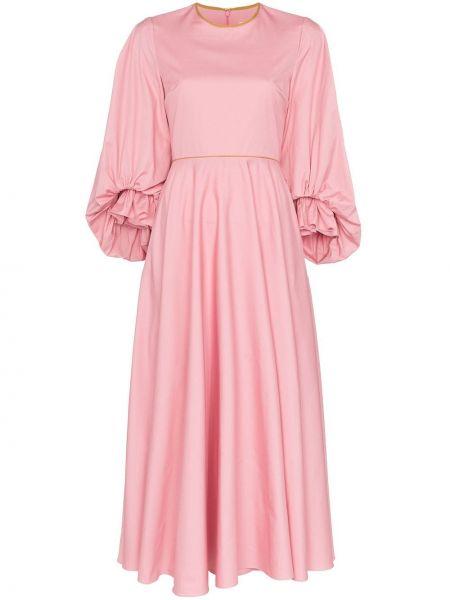 Платье миди розовое с карманами Roksanda