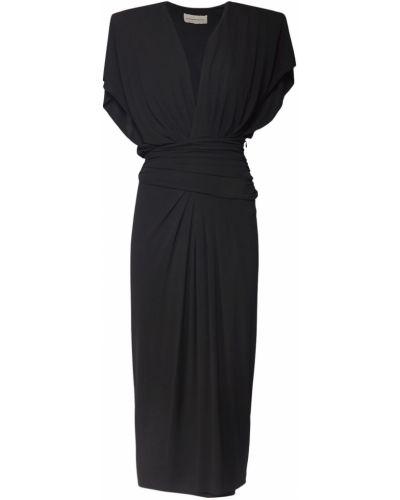 Czarna sukienka midi z wiskozy Alexandre Vauthier