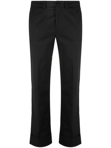 Прямые черные укороченные брюки с поясом Incotex