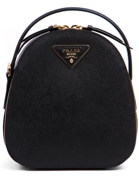 Черный кожаный рюкзак на молнии металлический Prada