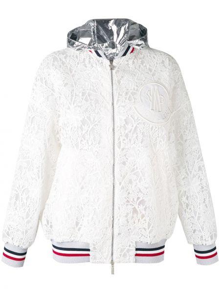 Шелковая куртка с капюшоном с вышивкой мятная с капюшоном Moncler Gamme Rouge
