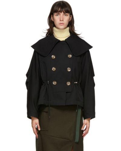 Wełniany czarny pikowana kurtka z kieszeniami z długimi rękawami Enfold