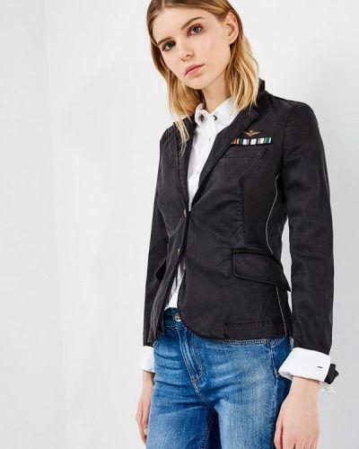 Черная джинсовая куртка Aeronautica Militare