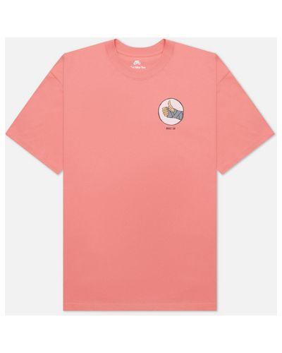 Розовая хлопковая футболка Nike Sb