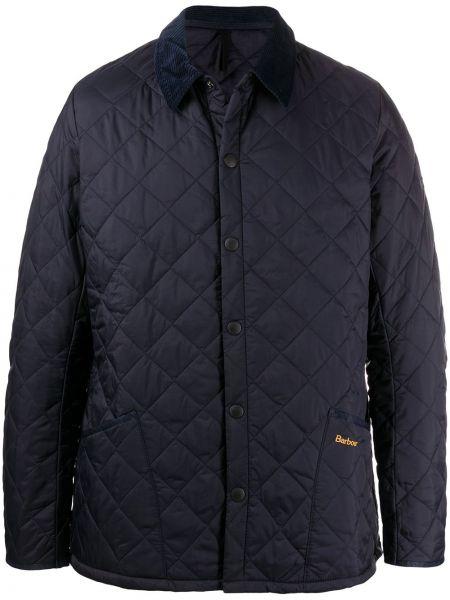 С рукавами стеганая синяя куртка Barbour