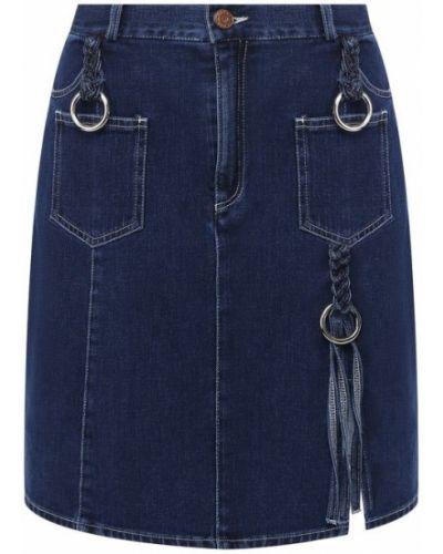 Джинсовая юбка хлопковая из плотной ткани See By Chloé