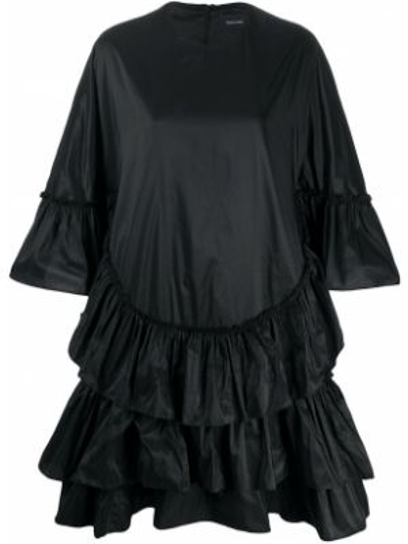 Черное платье оверсайз с оборками с вырезом Simone Rocha