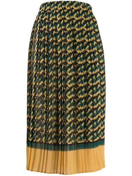 Плиссированная зеленая с завышенной талией юбка миди Elisabetta Franchi