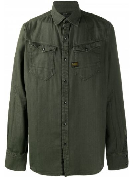 Хлопковая зеленая классическая рубашка с длинными рукавами G-star Raw