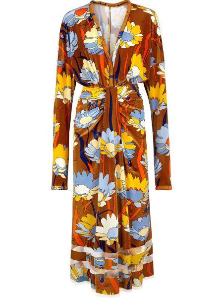 Коричневое платье макси Fendi