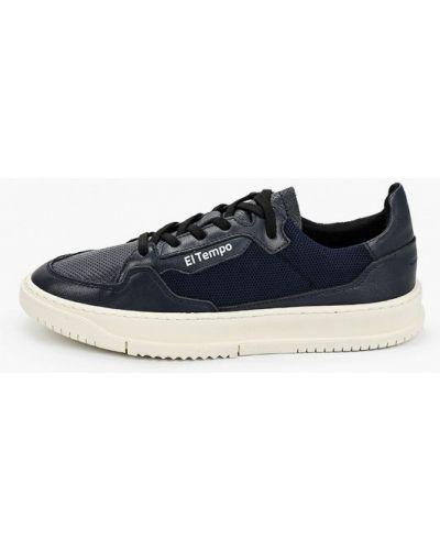 Синие кожаные кроссовки El Tempo