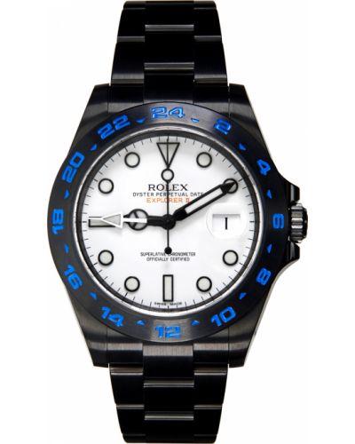 Czarny zegarek mechaniczny srebrny szafir Mad Paris