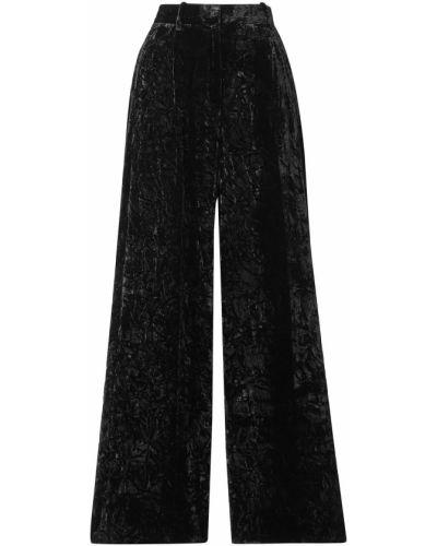 Czarne spodnie z paskiem z jedwabiu Racil