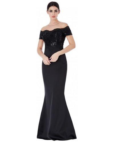 Облегающее черное вечернее платье с пайетками Goddiva